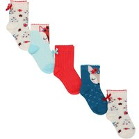 Baby girl cotton rich multi-coloured fox deer design floral bow applique socks five pack  - Multicol