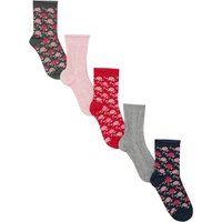 Girls cotton rich multi-coloured plain cable knit and floral rose design socks five pack  - Multicol