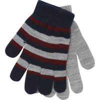 Boys Soft Knit Stripe Pattern And Plain Magic Gloves Two Pack - Multicolour