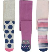 Baby girl cotton rich knitted spot owl and stripe design tights three pack  - Multicolour