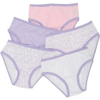 Girls 100% cotton pink and lilac plain spot and floral print elasticated trims briefs five pack  - M
