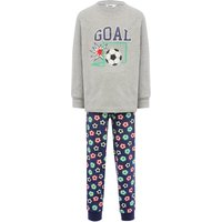 Boys cotton rich grey marl long sleeve goal slogan top and football print cuffed trousers pyjamas  -