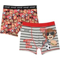 Emoji boys cotton rich stretch graphic stripe print branded elasticated waistband trunks two pack  -