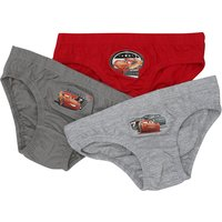 Disney Cars boys 100% cotton red & grey stretch trim Lightning McQueen character print briefs 3 pack