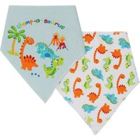 Baby Boy Girl Cotton Dinosaur Print Dribble Bibs Two Pack - Multicolour