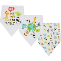 Baby unisex animal print dribble bibs with press button fastenings three pack  - Cream