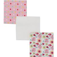 Baby Girl Cotton Front Plain Spot And Butterfly Print Muslin Cloths Three Pack - Pink