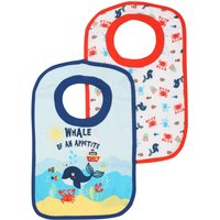 Baby Boy Cotton Front Blue And Red Whale Print Pop Over Bibs Two Pack - Multicolour