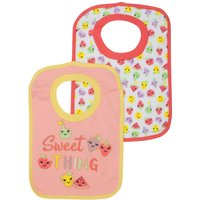 Baby Girl Cotton Rich Peach Pink Fruit Print Pop Over Bibs Two Pack - Peach