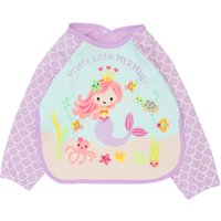 Baby Girl Long Sleeve Apron Style Mermaid Scale Print Coverall Bib - Lilac