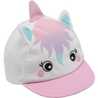 Baby Girls White 3d Unicorn Ears And Horn Detail Fun Holiday Summer Cap - White
