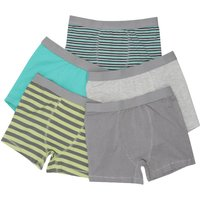 Boys cotton rich grey and green plain and stripe stretch waist trunks five pack  - Multicolour