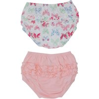 Baby Girl 100% Cotton Plain Pink And Butterfly Print Ruffle Frilly Knickers Two Pack - Pink