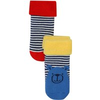 Baby Boy Cotton Rich Blue Red And Yellow Bear Stripe Design Fold Over Top Socks Two Pack - Multicolour