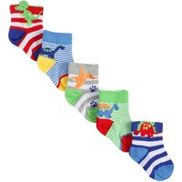 Baby Boy Cotton Rich Stretch Multi-coloured Stripe Dinosaur Ankle Socks Five Pack - Multicolour