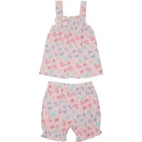 Girls 100% cotton pink butterfly print bow vest top and frill trim shorts pyjama set  - Pink