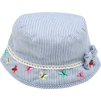 Baby girl blue and white ticking stripe cotton butterfly embroideries lace trim bow applique sun hat