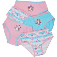 Emoji girls 100$ cotton pink and blue unicorn Emoji print plain and stripe briefs five pack  - Multi