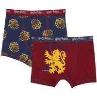 Harry Potter boys cotton stretch burgundy navy Hogwarts Gryffindor trunks prints two pack  - Multico
