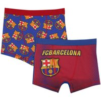 Barcelona F.c Boys 100% Cotton Barcelona Football Club Badge Print Stetch Waist Trunks Two Pack - Multicolour