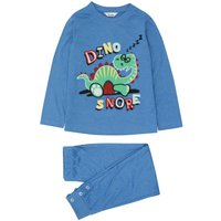 Boys blue long sleeve cotton blend dinosaur slogan print top and cuffed ankle trousers pyjamas  - Bl