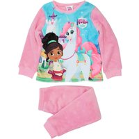 Nella The Knight Girls pink long sleeve character print top and bottoms fleece pyjamas  - Pink