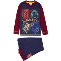 Harry Potter boys long sleeve Hogwarts house emblem print top and cuffed ankle trousers pyjamas  - Multicolour