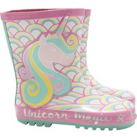 Kids Girls pink unicorn rainbow wellington boots  - Multicolour