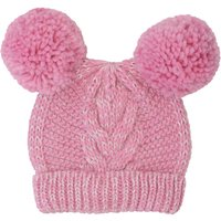 Girls Bright Clock Colour Glitter Knit Double Pom Pom Cable Knit Hat - Pink