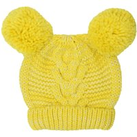 Girls Bright Clock Colour Glitter Knit Double Pom Pom Cable Knit Hat - Yellow