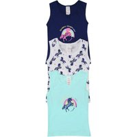 Kids Girls 100% Cotton Sleeveless Round Neck Unicorn Print Vests Three Pack  - Multicolour
