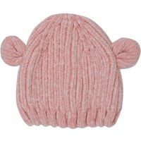 Baby Girl Pink Soft Chennille Knitted Ribbed Bear Ear Beaie Hat - Pink