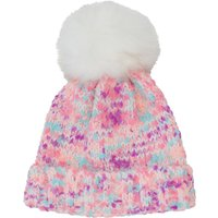 Girls Pink Multi Yarn Knitted Beani Bobble Hat With White Faux Fur Pom Pom - Multicolour