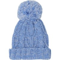 Baby Girl Blue Knitted Cable Knit Pom Pom Bobble Hat - Blue