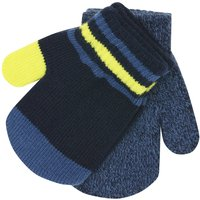 Baby Boy Navy Colour Block Plain Knitted Magic Mittens Two Pack - Blue