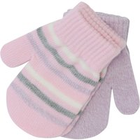 Baby Girl Pink Lilac Stripe Plain Magic Mittens Two Pack - Pink