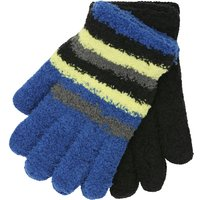 Kids Boys stretch knit thermal stripe fleece magic gloves two pack  - Multicolour