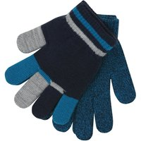 Boys Navy Stripe Colour Block Knitted Magic Gloves Two Pack - Blue