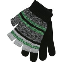 Boys Grey Green And Black Stripe Fingerless And Plain Magic Gloves Two Pack - Black