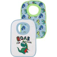 Baby Boy Cotton Front Dinosaur Pop Over Bibs Two Pack - Multicolour