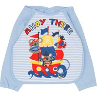 Baby Boy Blue Pirate Design Long Sleeve Fastening Back Coverall Bib - Blue