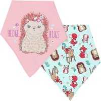 Baby Girl Pink Hedgehog Bandana Style Cotton Front Dribble Bibs Two Pack - Multicolour