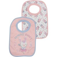 Baby Girl Pink Cotton Princess Bunny Print Pop Over Bib Two Pack - Multicolour