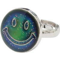 Girls Silver Tone Smiley Face Adjustable Mood Ring - Multicolour