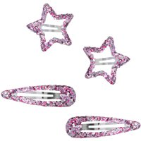 Girls Pink Glitter Star Shaped Hair Clasps Four Pack - Multicolour