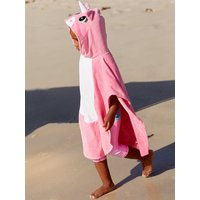 Kids Girls pink unicorn hooded poncho towel unicorn face cotton towelling  - Pink