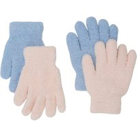 Kids Girls glitter fleece gloves two pack  - Multicolour