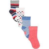 Kids Baby girl ankle socks with stripe and heart patterns four pair pack - Multicolour