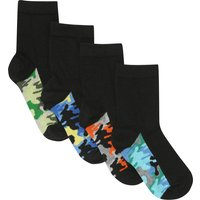 Kids Boys socks camo patterned sole pack of four pairs ankle socks  - Multicolour