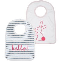 Kids Baby girl striped bunny bibs two pack Mu - Multicolour